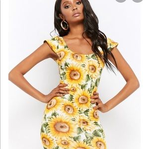 NWT Forever 21 Sunflower dress mini frill floral S